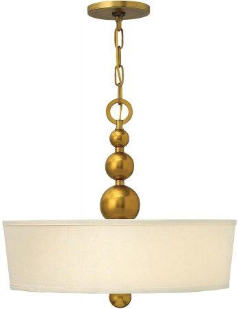 Zelda Vintage Brass Linen Shade Pendant Chandelier