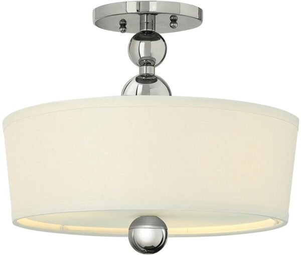 Zelda Polished Nickel 3 Light Linen Shade Semi Flush