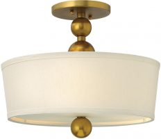 Zelda Vintage Brass 3 Light Linen Shade Semi Flush