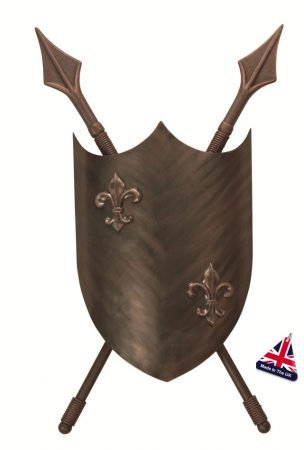 Crusader Large Heraldic Shield Feature Bronze Wall Light