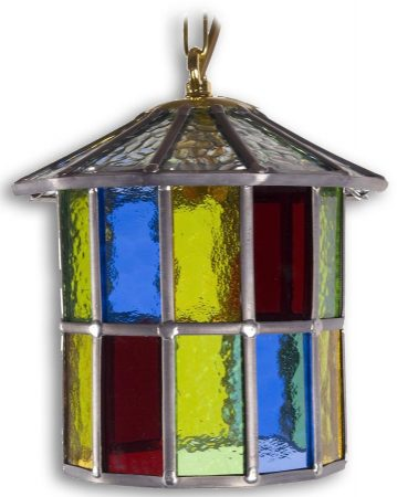 Hutton Multi Coloured Leaded Stained Glass Hanging Porch Lantern