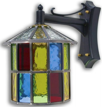 Hutton Multi Coloured Leaded Stained Glass Outdoor Wall Lantern