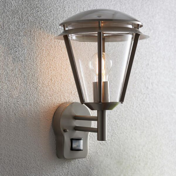 Endon Iken PIR 1 Light Brushed Stainless Steel Outdoor Wall Lantern IP44
