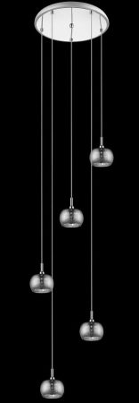 Impex Deni 5 Light Chrome Multi Level Pendant With Crystal Detail