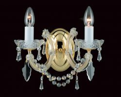 Impex Marie Theresa Glass Arm 2 Light Strass Crystal Wall Light Gold