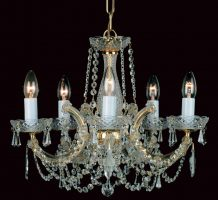Impex Marie Theresa Glass Arm 3 Light Strass Crystal Chandelier Gold