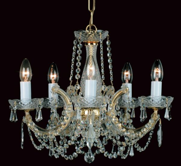 Impex Marie Theresa Glass Arm 5 Light Strass Crystal Chandelier Gold