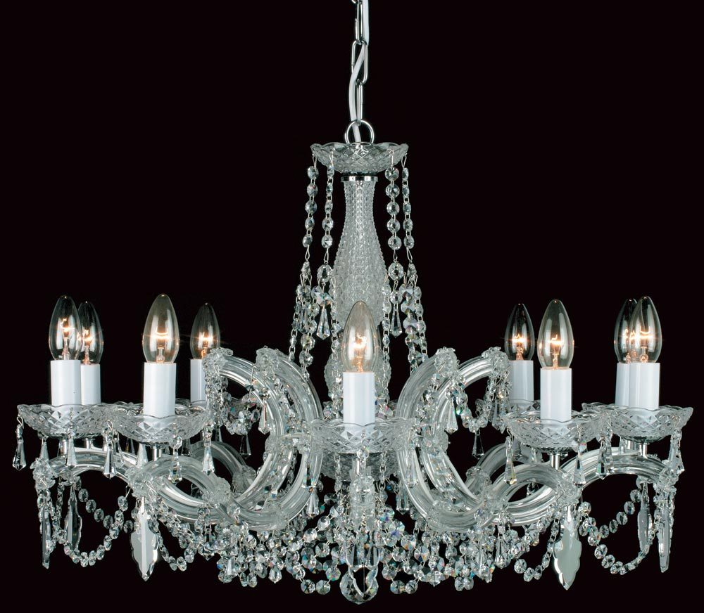 Impex marie theresa glass arm 10 light strass crystal chandelier chrome aloadofball Images