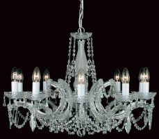 Impex Marie Theresa Glass Arm 10 Light Strass Crystal Chandelier Chrome