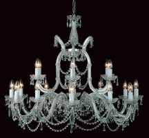 Impex Marie Theresa Glass Arm 19 Light Strass Crystal Chandelier Chrome