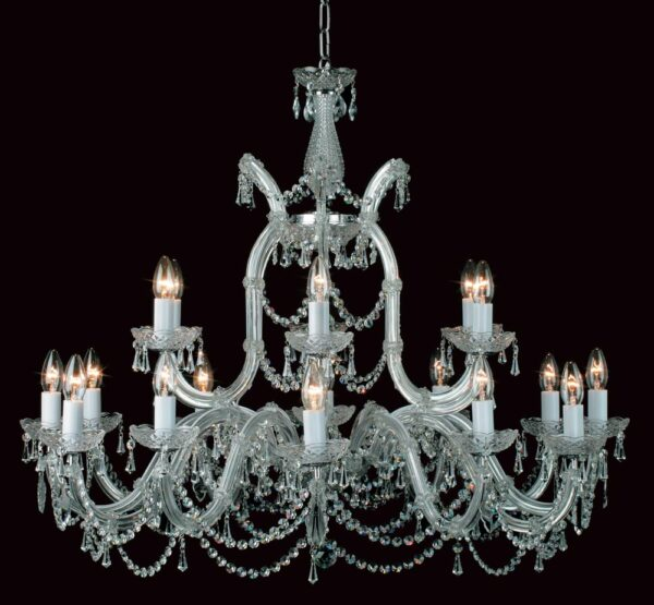 Impex Marie Theresa Glass Arm 16 Light Strass Crystal Chandelier Chrome