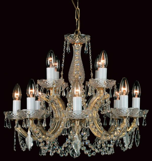 Impex Marie Theresa Glass Arm 12 Light Strass Crystal Chandelier Gold