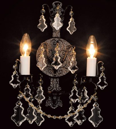 Impex Montmartre 2 Light Lead Crystal Wall Light Antique Bronze