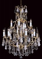 Impex Montmartre Large 13 Light Lead Crystal Chandelier French Gold