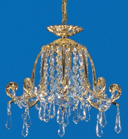 Impex Bell 25cm Strass Crystal 1 Light Pendant Gold Plated