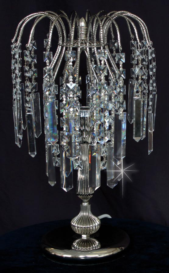 Impex Shower Strass Crystal Coffins Table Lamp Polished Nickel