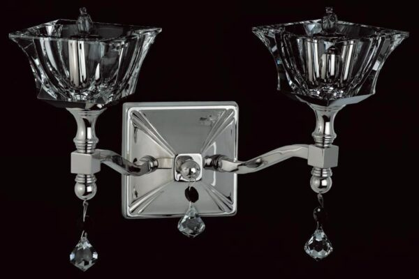 Impex Bresica Optic Glass Twin Wall Light Polished Nickel