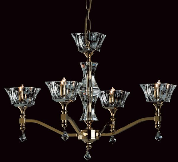 Impex Bresica 4 Light Optic Glass Chandelier Polished Nickel