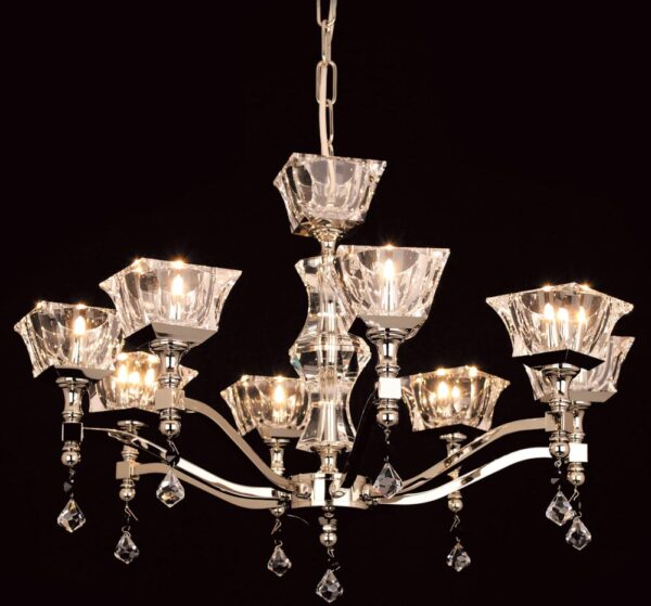 Impex Bresica 8 Light Optic Glass Chandelier Polished Nickel