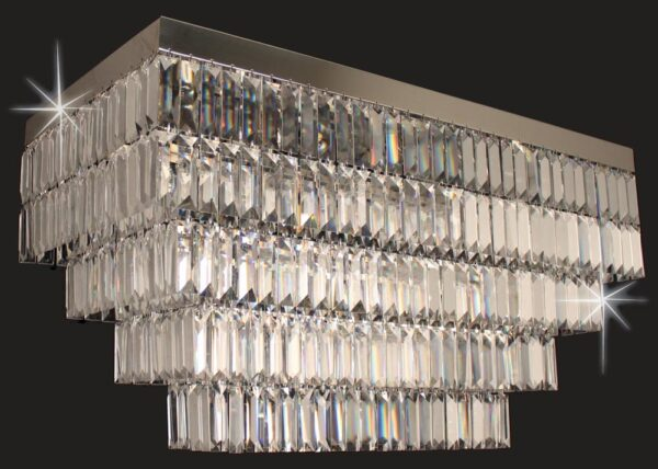 Impex Crystal Art Rectangular Flush 6 Light Chandelier Polished Chrome