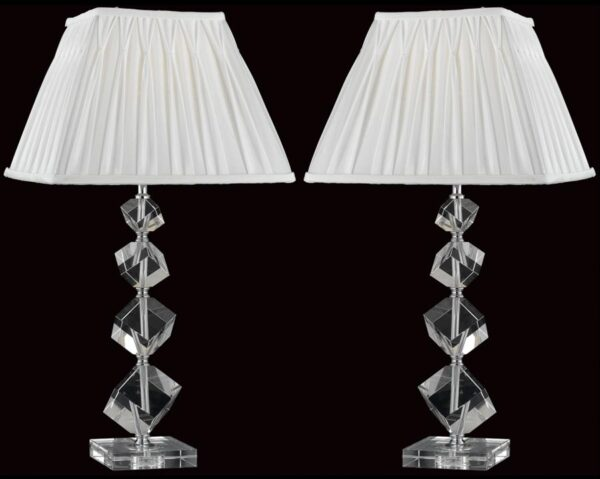 Impex Offset Crystal Cube Table Lamp With Shade Box Of Two