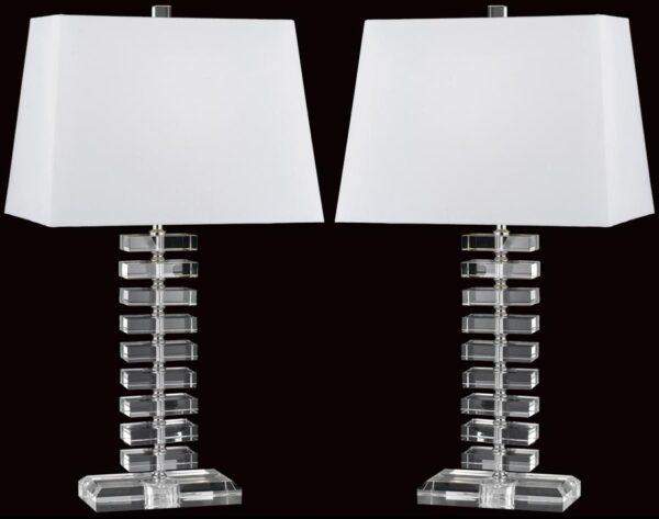 Impex Stacked Crystal Rectangles Table Lamp With Shade Box Of Two