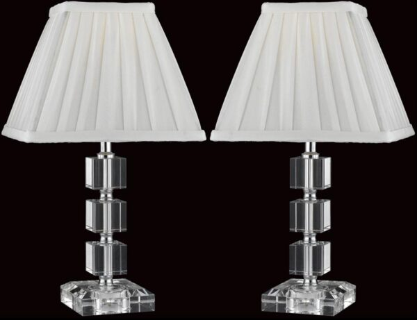 Impex Stacked Crystal Cube Table Lamp With Shade Box Of Two