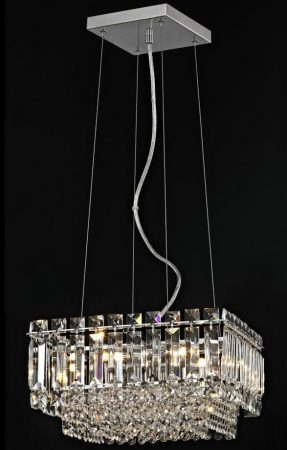 Impex Alvery Small Square 4 Light Crystal Pendant Polished Chrome