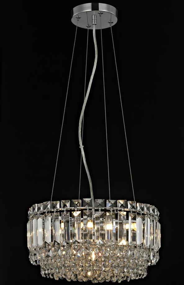 Impex Alvery Small Round 4 Light Crystal Pendant Polished Chrome