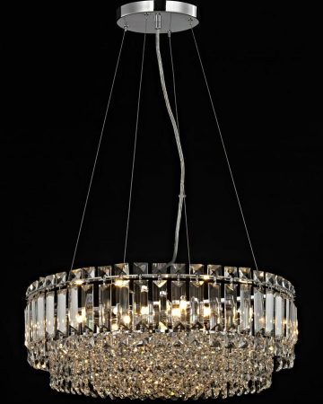 Impex Alvery Large Round 8 Light Crystal Pendant Polished Chrome