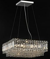 Impex Alvery Large Square 8 Light Crystal Pendant Polished Chrome