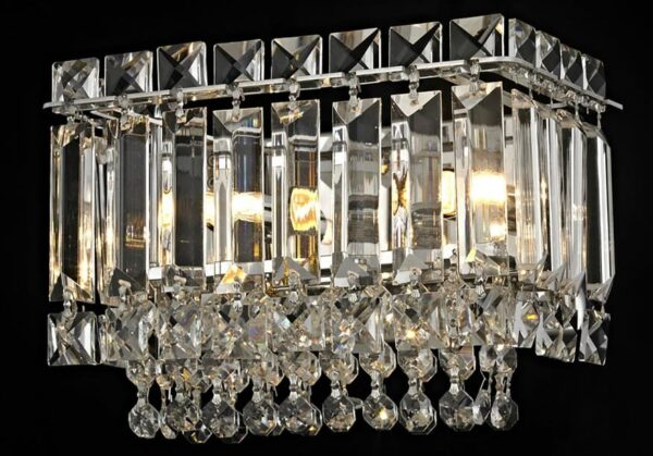 Impex Alvery 2 Light Crystal Wall Light Polished Chrome