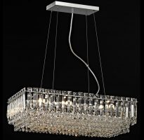 Impex Alvery Large Oblong 8 Light Crystal Pendant Polished Chrome