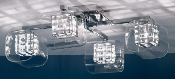 Impex Avignon Contemporary 4 Light Flush Fitting Polished Chrome