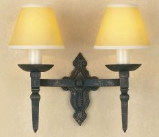 Impex Baronial Gothic Black / Gold Iron Work Double Wall Light