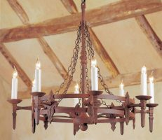 Impex Baronial Large 8 Light Gothic Aged Iron Work Chandelier