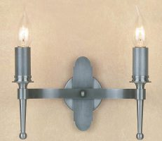 Impex Blenheim Sterling Iron Work Twin Wall Light Made In Britain
