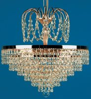 Bremen Strass Crystal 5 Light Tier And Crown Pendant Gold Plated