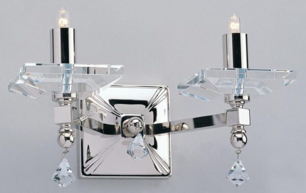 Impex Capri Optic Glass Double Wall Light Polished Nickel