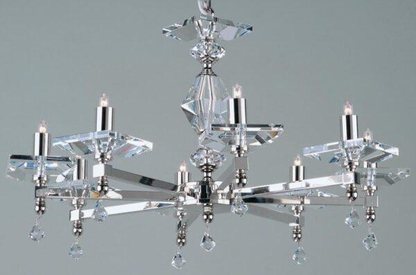 Impex Capri Optic Glass 8 Light Chandelier Polished Nickel