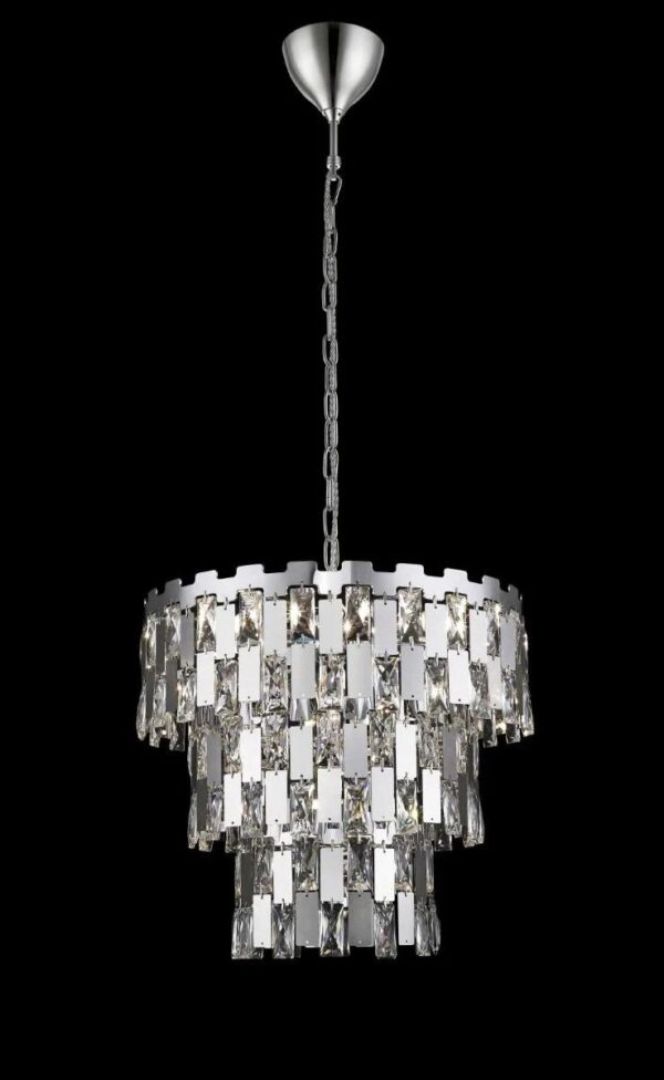 Impex Alma 9 Light Tiered Ceiling Pendant Crystal & Polished Chrome