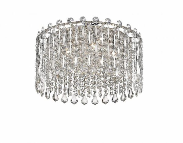 Impex Alita Crystal 5 Lamp Flush Low Ceiling Light Polished Chrome