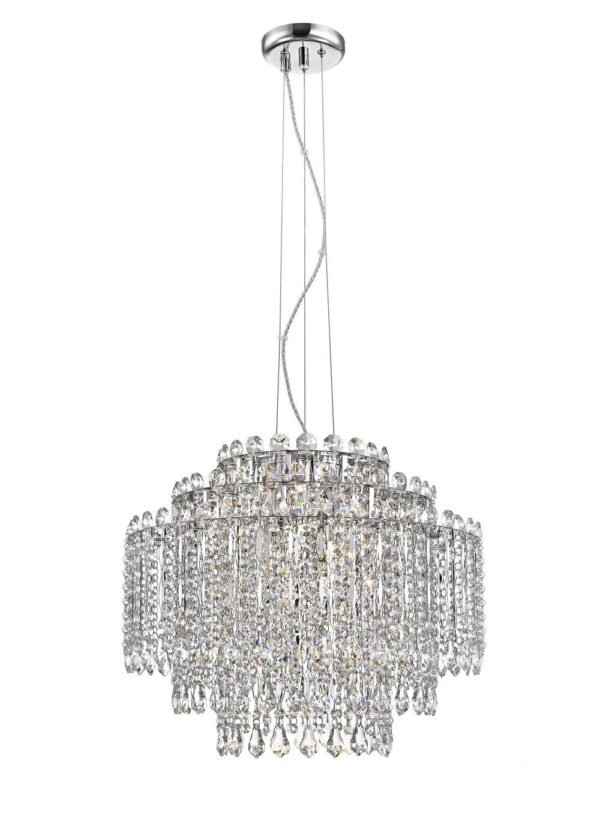 Impex Alita Crystal 8 Light Tiered Ceiling Pendant Polished Chrome