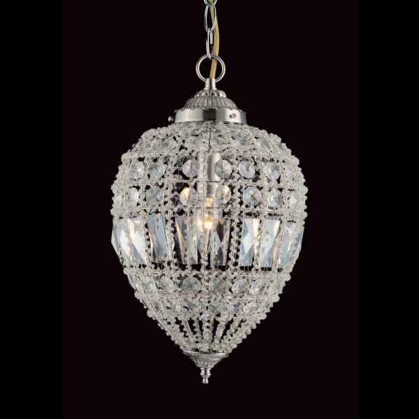 Impex Bombay Large 1 Light Moroccan Style Crystal Pendant Satin Nickel