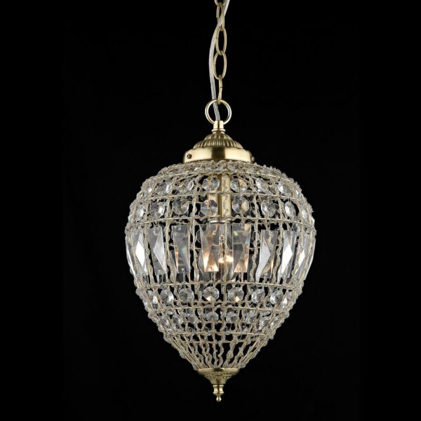 Impex Bombay Large 1 Light Moroccan Style Crystal Pendant Satin Brass