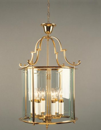 Impex Colchester Georgian 6 Light Hanging Lantern Polished Brass