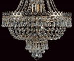 Impex Cologne Empire Style 8 Light Blue Crystal Chandelier Gold Plated