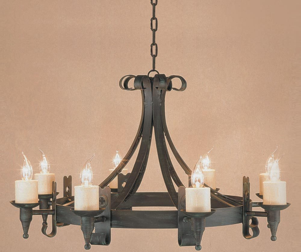 Impex Cromwell Black 8 Light Gothic Wrought Iron Cartwheel