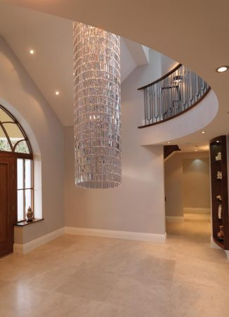 Impex Crystal Art Cylinder 5 Light Chandelier 5m Drop
