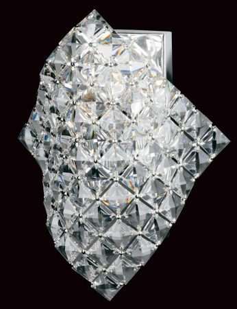 Impex Diamond Cube Strass Crystal 1Light Art Deco Wall Light Chrome